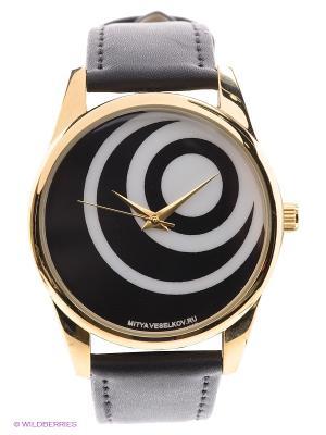 Часы Черные диски Mitya Veselkov. Цвет: черный