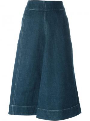 Джинсовая юбка с карманом Lemaire. Цвет: синий