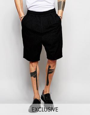 Black Eye Rags Шерстяные шорты в тонкую полоску. Цвет: черный