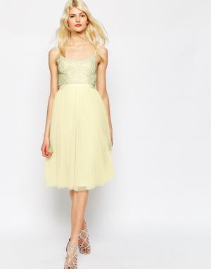 Needle & Thread Тюлевое платье с отделкой Coppelia. Цвет: розовый