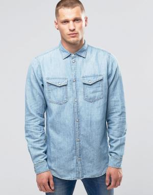 Pepe Jeans Джинсовая рубашка с эффектом поношенности Hammond Z31. Цвет: синий