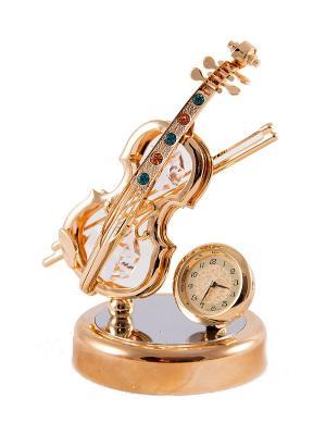 Фигурка декоративная с часами Скрипка CRYSTOCRAFT. Цвет: золотистый