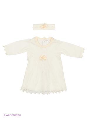 Комплект (платье с 1-им бантиком+повязка на голову), КОМПЛЕКТЫ ВЫПИСКУ Soni kids. Цвет: молочный