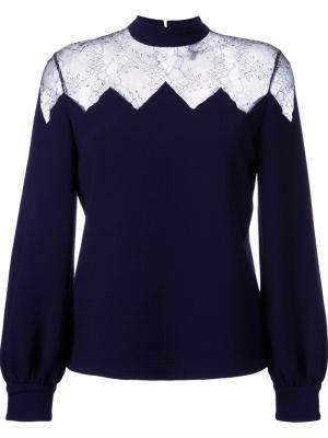 Блузка с прозрачной кружевной панелью Huishan Zhang. Цвет: синий