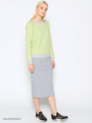 Свитшот &Berries. Цвет: зеленый,серый меланж