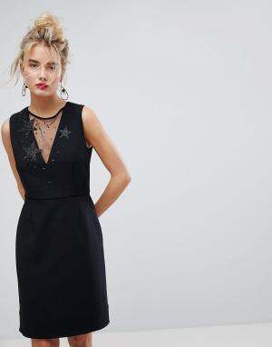 Essentiel Antwerp Платье с сетчатой вставкой. Цвет: черный