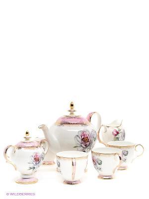 Чайный сервиз Цветок Неаполя (Fiore Napoli Pavone) Pavone. Цвет: белый, зеленый, розовый