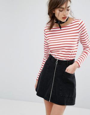People Tree Organic Breton Stripe Long Sleeve T-Shirt. Цвет: красный