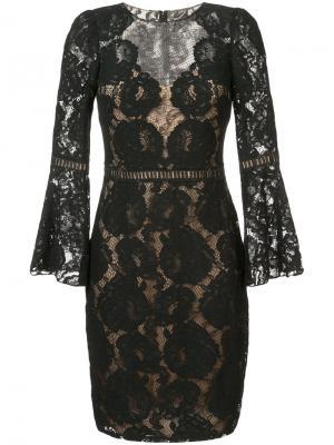 Layered floral lace dress Tadashi Shoji. Цвет: чёрный