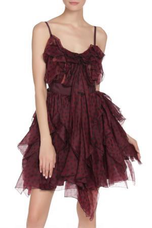 Платье на тонких бретелях Nina Ricci. Цвет: бордовый в горшек