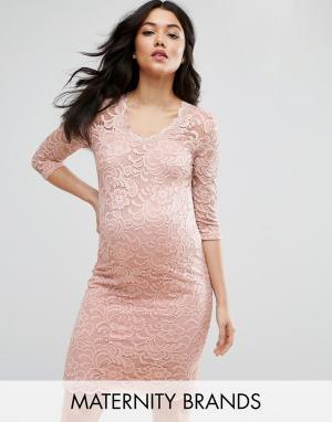Mama.licious Кружевное платье для беременных Mamalicious. Цвет: розовый