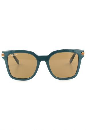 Очки солнцезащитные Salvatore Ferragamo. Цвет: зеленый