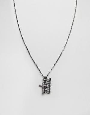 Seven London Ожерелье с подвеской-крестиком. Цвет: серебряный