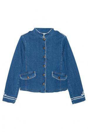 Джинсовая куртка с вышивкой Bonpoint. Цвет: голубой