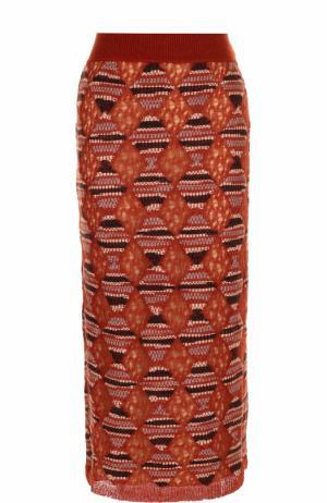 Шерстяная юбка-миди с широким поясом Missoni. Цвет: оранжевый