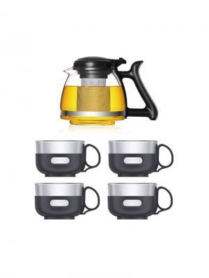 Набор LP-ZL700 Стеклянный чайник заварочный 700 мл,  с фильтром + 4 чашки х 150 мл Veitron. Цвет: прозрачный, черный