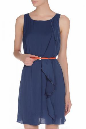 Шифоновое платье с ремешком Toy G.. Цвет: темно-синий