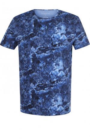 Хлопковая футболка с принтом Derek Rose. Цвет: голубой