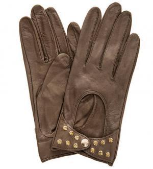 Коричневый кожаные перчатки с отделкой камнями ELEGANZZA. Цвет: коричневый