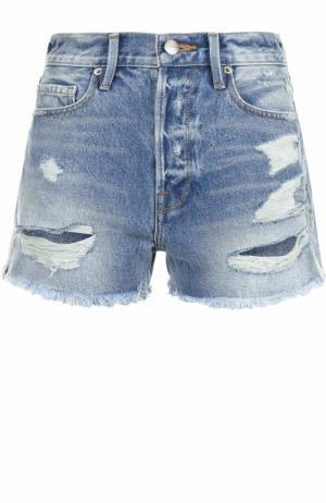 Джинсовые шорты с потертостями Frame Denim. Цвет: голубой