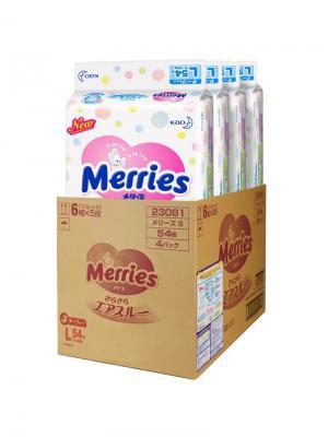 Мегапак Подгузники для детей размер L 9-14 кг (4 упаковки по 54шт) MERRIES. Цвет: белый