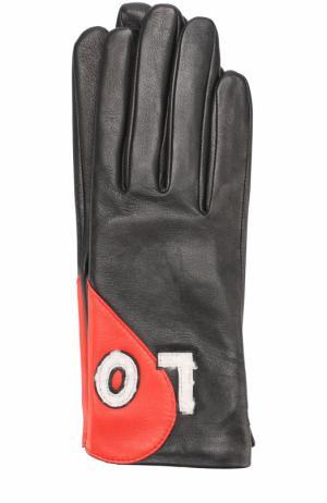 Кожаные перчатки с аппликацией Agnelle. Цвет: черный