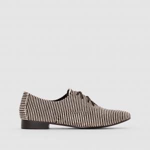 Ботинки-дерби с ворсом и узором в полоску MADEMOISELLE R. Цвет: в полоску белый/черный