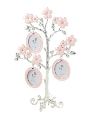 Фоторамка-дерево на 3 фото Русские подарки. Цвет: серебристый, бледно-розовый
