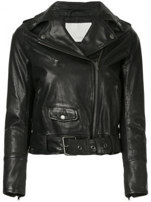Укороченная байкерская куртка Estnation. Цвет: чёрный