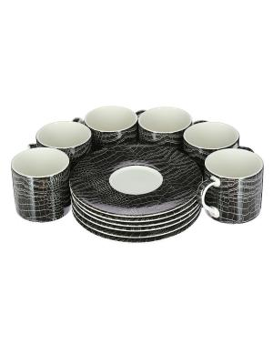 Набор 6 чайных пар 210мл Саби черный Royal Porcelain. Цвет: молочный
