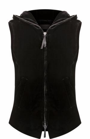 Приталенный бархатный жилет с капюшоном Giorgio Armani. Цвет: черный