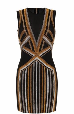 Мини-платье с контрастными стразами Balmain. Цвет: черный
