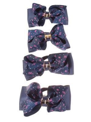 Резинки для волос бантики с золотой пряжкой принтом ромашка, 4 штуки, синие Радужки. Цвет: фиолетовый