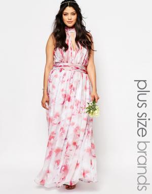 Fame and Partners Plus Платье макси с принтом River. Цвет: мульти
