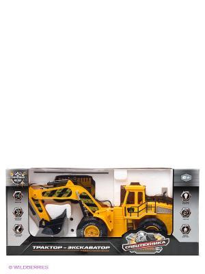 Трактор - Экскаватор р/у 1:10, 6 каналов Пламенный мотор. Цвет: желтый