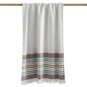 Полотенце большое Fouta из двойной махровой ткани от CYPRUS La Redoute Interieurs. Цвет: белый в полоску