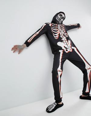 SSDD Комбинезон для Хэллоуина с принтом скелета. Цвет: черный