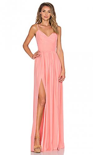 Макси платье rio Amanda Uprichard. Цвет: персиковый