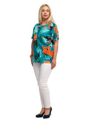 Блузка OLSI. Цвет: бирюзовый, оранжевый