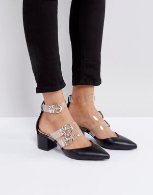Raid Остроносые туфли на среднем каблуке с прозрачными ремешками Carme. Цвет: черный