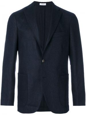 Пиджак в елочку Boglioli. Цвет: синий