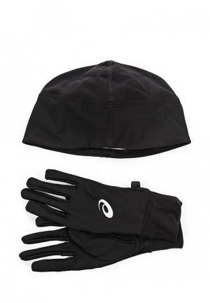 Комплект перчатки и шапка ASICS. Цвет: черный