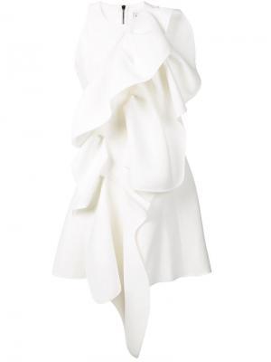 Платье с оборками Maticevski. Цвет: белый