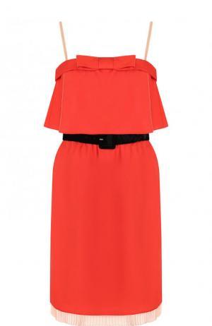 Приталенное шелковое мини-платье с контрастным поясом Marc Jacobs. Цвет: красный
