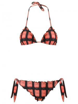 Ruffled triangle bikini set Amir Slama. Цвет: чёрный
