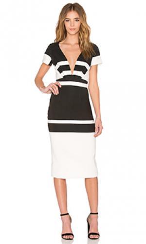 Платье со смещенными полосками By Johnny. Цвет: black & white