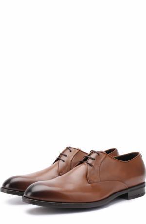 Классические кожаные дерби Ermenegildo Zegna. Цвет: светло-коричневый