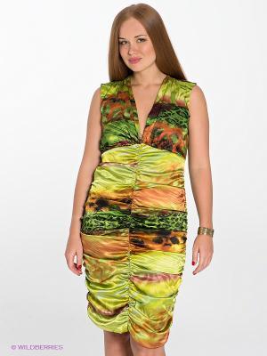 Платье МадаМ Т. Цвет: светло-зеленый, коричневый