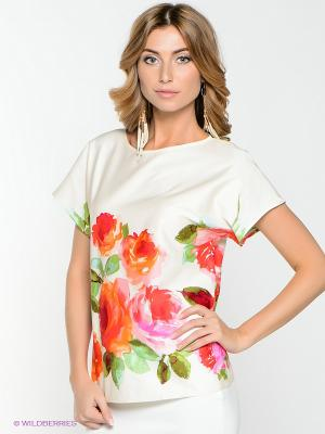 Блузка IMAGO. Цвет: белый, зеленый, красный