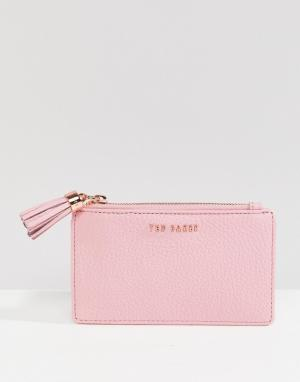 Ted Baker Кожаная кредитница с кисточкой. Цвет: розовый